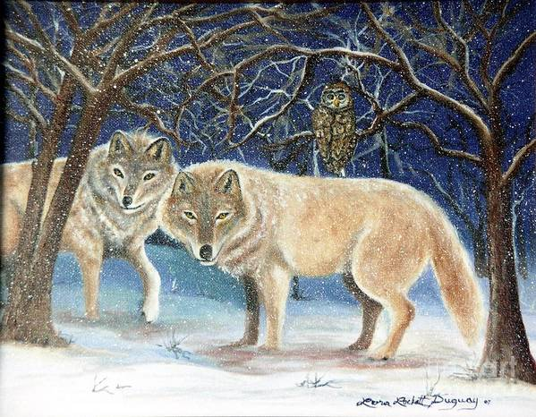 Wolves Art Print featuring the painting Night Life In The Forest by Lora Duguay