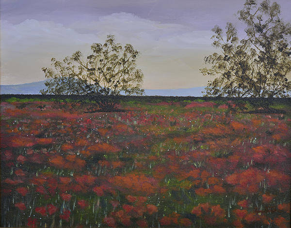 Landscape Art Print featuring the painting Poppies by Annette Tan