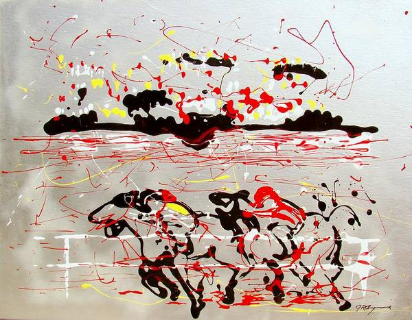 Horses Print featuring the mixed media And Down The Stretch They Come by J R Seymour