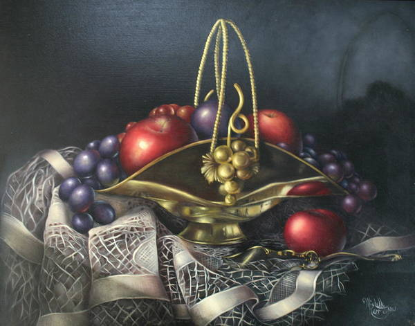Still Life Art Print featuring the painting Brass Basket by Michelle Kerr