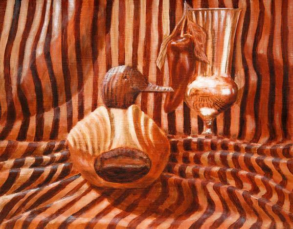 Decoy Art Print featuring the painting Decoy Still Life by Karen Peterson