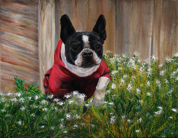 Frenchie Art Print featuring the painting Frenchie In The Flowers by Karen Peterson