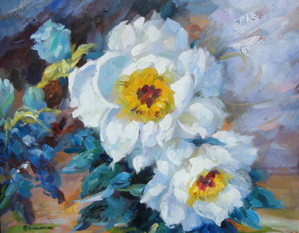 Flower Close Up Art Print featuring the painting Indoor Garden by Imagine Art Works Studio