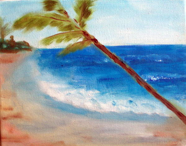 Ocean Art Print featuring the painting On The Beach by Lia Marsman
