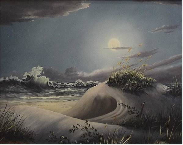 Landscape Art Print featuring the painting Waves And Moonlight by Wanda Dansereau