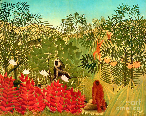 U.s.pd: Tiger Paintings Art Print featuring the painting Tropical Jungle By Henri Rousseau by Pg Reproductions