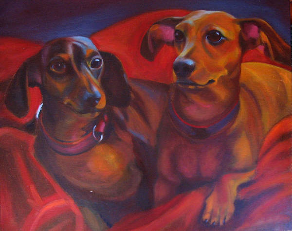 Dachshunds Art Print featuring the painting Mini-docs by Kaytee Esser