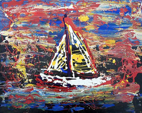 Sailboat Art Print featuring the painting Sunset On The Lake by J R Seymour