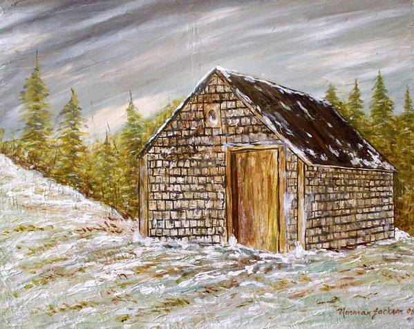 Woodshed Art Print featuring the painting Thewoodshed by Norman F Jackson