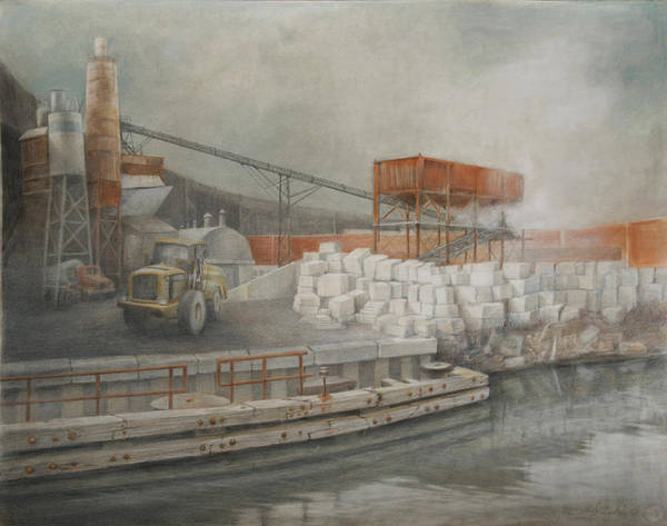 Industrial Art Print featuring the drawing White Cinder Blocks by Stefan Beltzig
