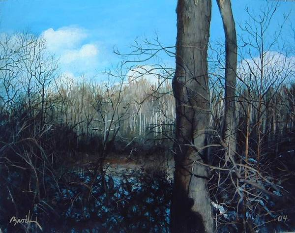Landscape Art Print featuring the painting Winter Trees by William Brody