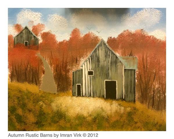 Autumn Art Print featuring the painting Autumn Rustic Barns by Imran Virk