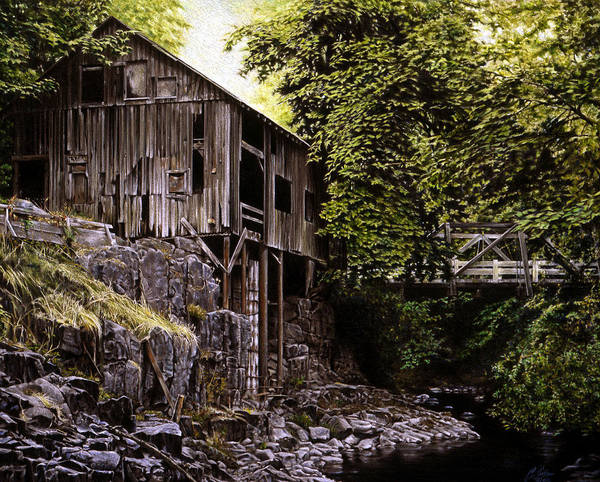 Old Grist Mill Art Print featuring the painting Above Cedar Creek by Craig Shillam