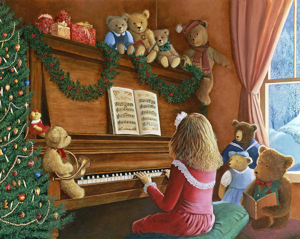 Teddy Bears Art Print featuring the painting Christmas Concert by Susan Rinehart