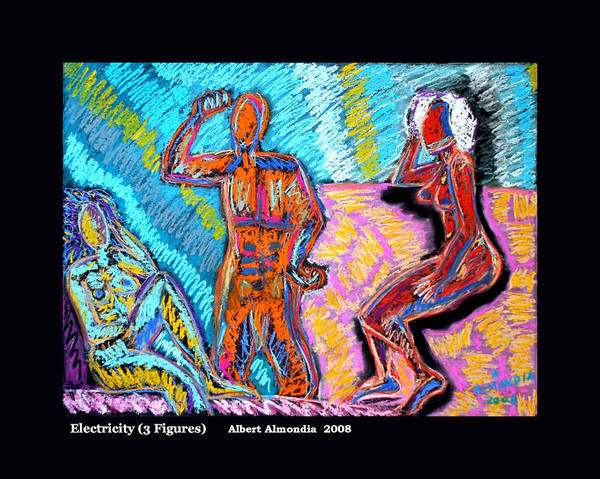 Figurative Art Print featuring the painting Electricity - 3 Figures by Albert Almondia