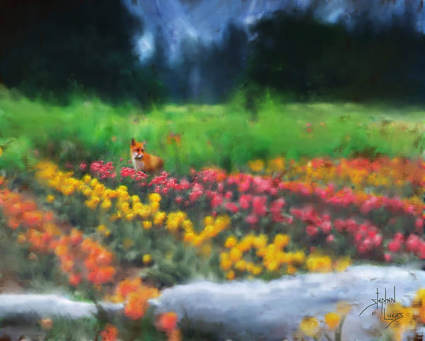 Fox Art Print featuring the digital art Fox Watching The Tulips by Stephen Lucas