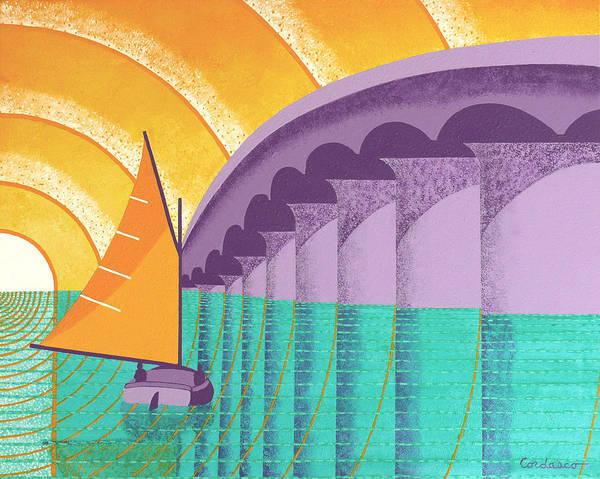 Sarasota Art Print featuring the painting Sarasota Sail by James Cordasco