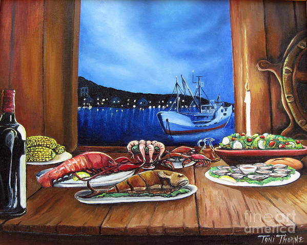 Painting Art Print featuring the painting Seafood Feast by Toni Thorne