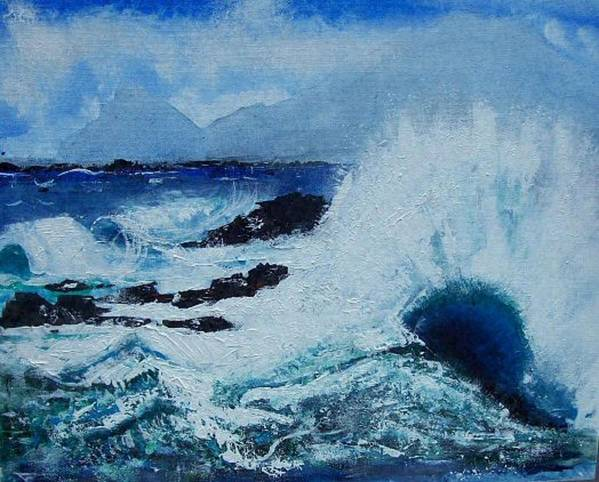 Waves Art Print featuring the painting Waves by Valerie Wolf