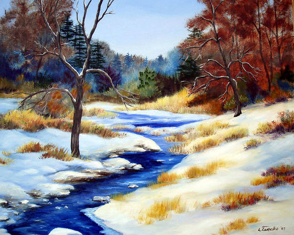 Maine Snow Winter Trees Nature Paintings Original Art Art Print featuring the painting Winter Stream by Laura Tasheiko