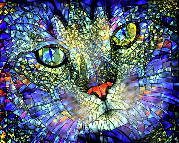 Stained Glass Cat Art by Peggy Collins