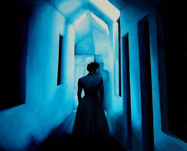 Oil Painting. Lady.blue Lady. Blue . Surreal Impressionism Art Print featuring the painting Blue Lady In The Hall by Ivan Rijhoff