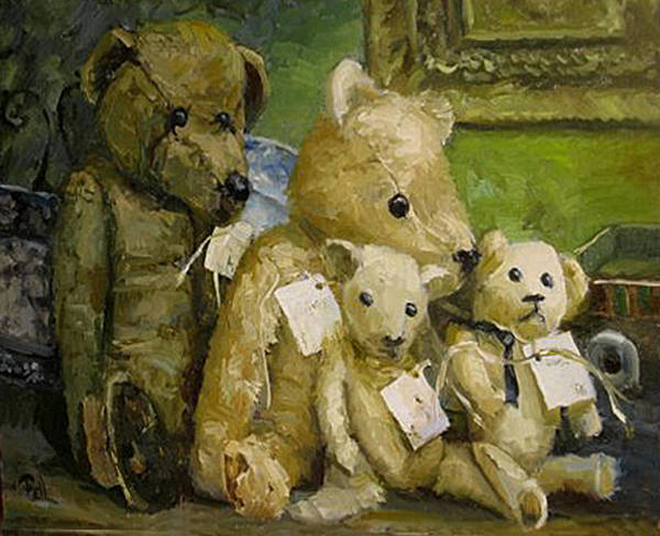 Antique Teddy Bears Art Print featuring the painting Just A Lookin For A Home by Lilli Pell