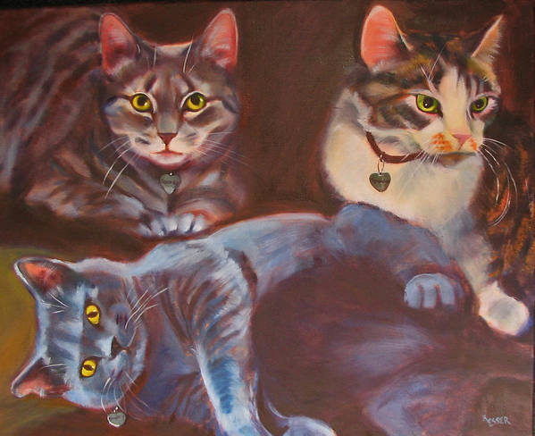 Cat Painting Art Print featuring the painting Three For The Money by Kaytee Esser