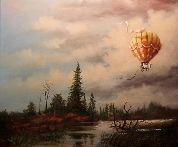 Hot Air Balloon Art Print featuring the painting Flight Of The Swan 2 by Tom Shropshire