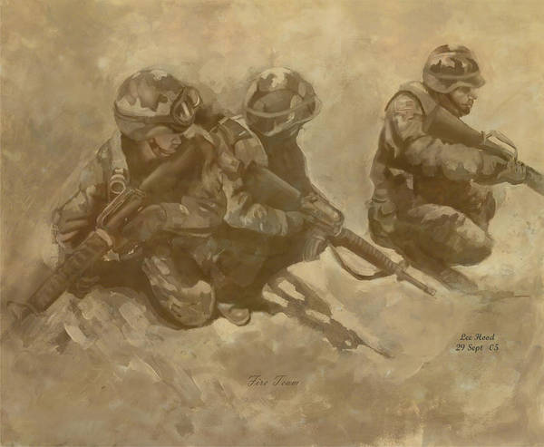 Fire Team Art Print featuring the mixed media Fire Team by Lee Hood