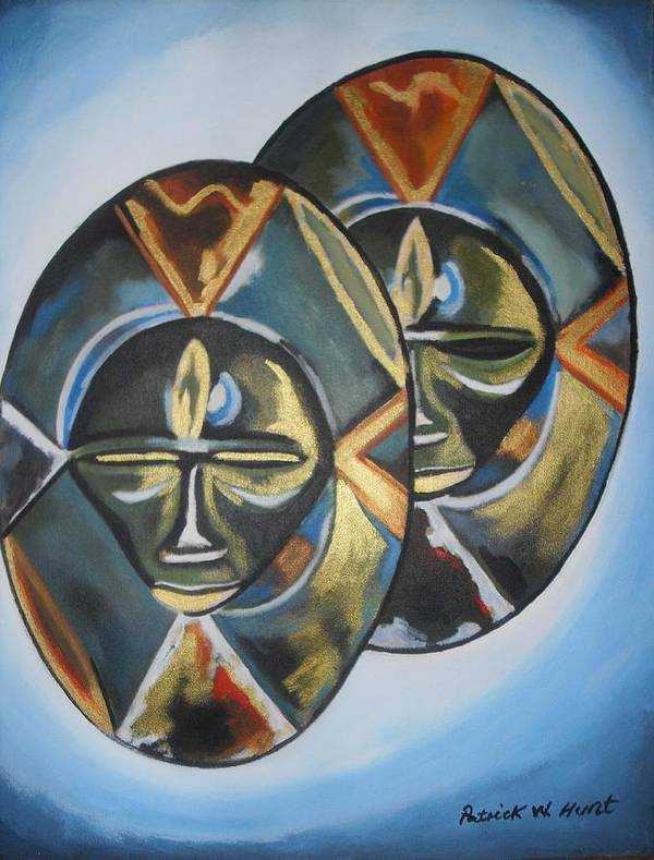 African Art Art Print featuring the painting African Double Mask by Patrick Hunt