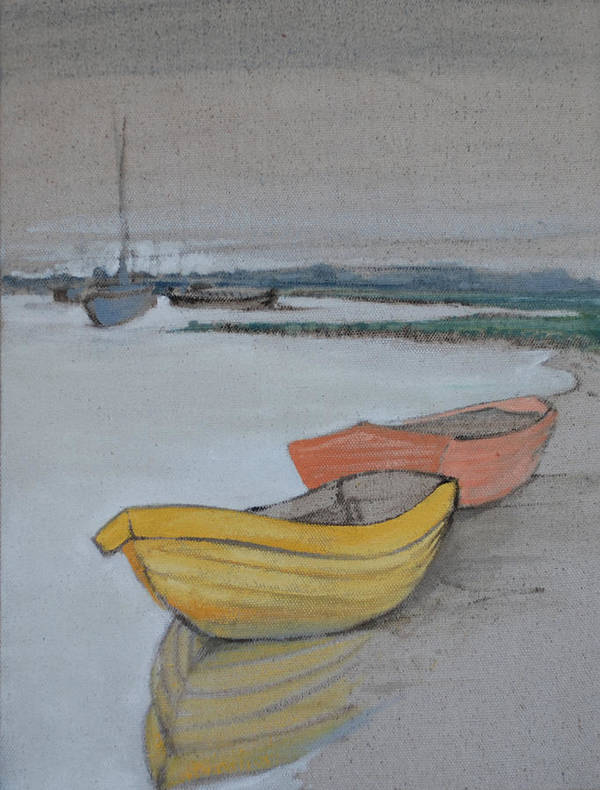 Reflection Blue Boat Boats Harbor Dingy Sailing Sea Ocean Art Print featuring the painting Yellow Boat 2 by Amy Bernays