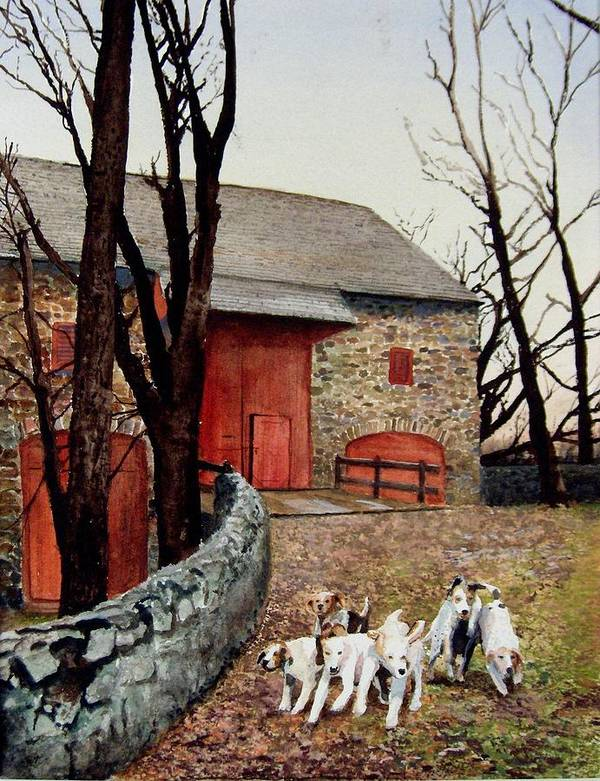 Barn Art Print featuring the painting Who Let The Dogs Out Who Who by Haldy Gifford