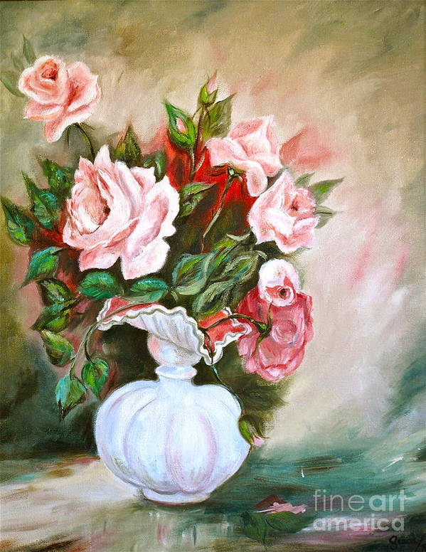 Roses Art Print featuring the painting Roses In Vase by Virginia Ann Hemingson