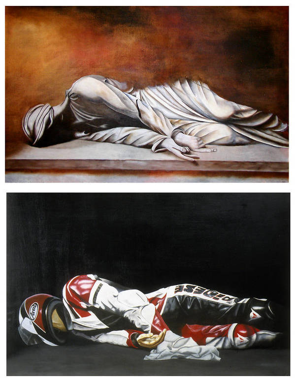 Self Portrait Motorcycle Arai Helmet Leather Suit Figurative Realism Diptych Sculpture Statue Renaissance Dark Emotive Expressive Saint St. Cecilia Art Print featuring the painting September Sixth Diptych by Ian Hemingway