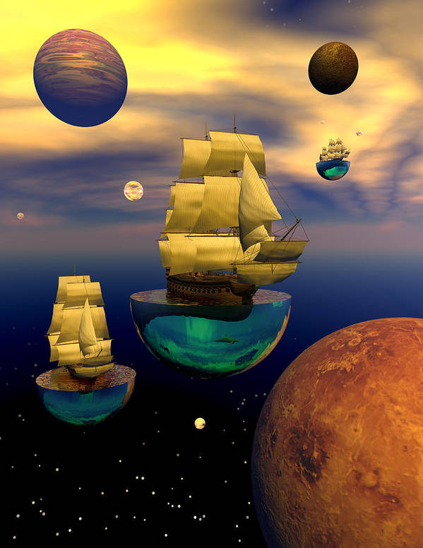 Bryce 3d Scifi Fantasy tall Ship Windjammer \sailing Ship\ Sailing Art Print featuring the digital art Celestial Armada by Claude McCoy