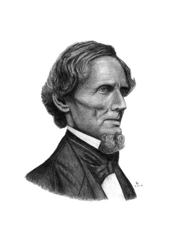 Confederate Art Print featuring the drawing Confederate President Jefferson Davis by Charles Vogan