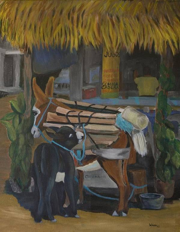 Animal Art Print featuring the painting Donkey At Taco Stand by Anita Wann