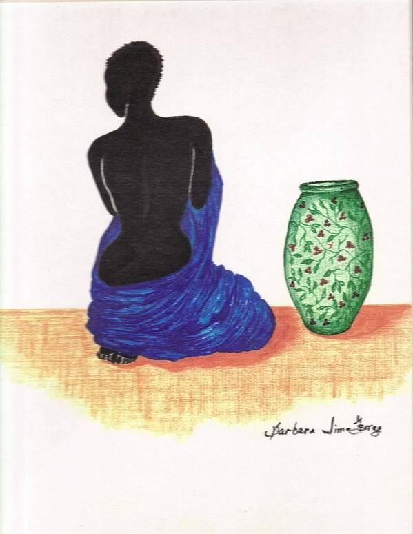 Art Print featuring the drawing Woman And A Ginger Jar by Bee Jay