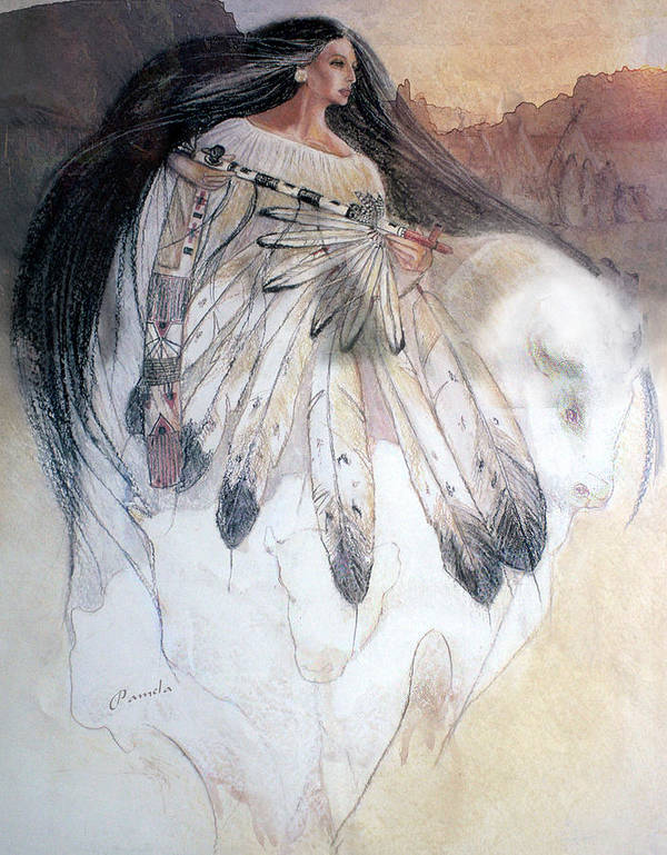 White Buffalo Art Print featuring the painting White Buffalo Calf Woman by Pamela Mccabe