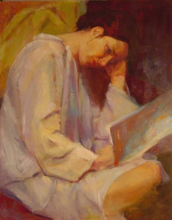 Figure Art Print featuring the painting Reading In The Blue Robe by Irena Jablonski