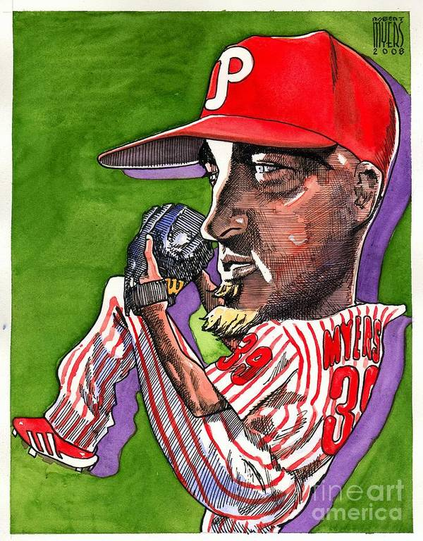 Sports Art Art Print featuring the painting Phillies by Robert Myers