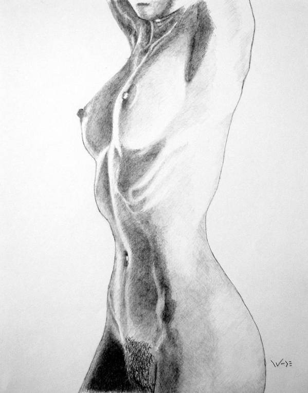Female Art Print featuring the drawing Female Nude Three by George Wade
