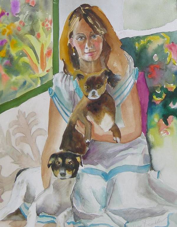 Portraits Art Print featuring the painting Joann And Her Pets by Diane Renchler