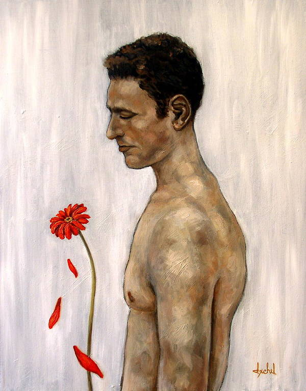 Man Art Print featuring the painting Orange Gerbera On White by Ixchel Amor