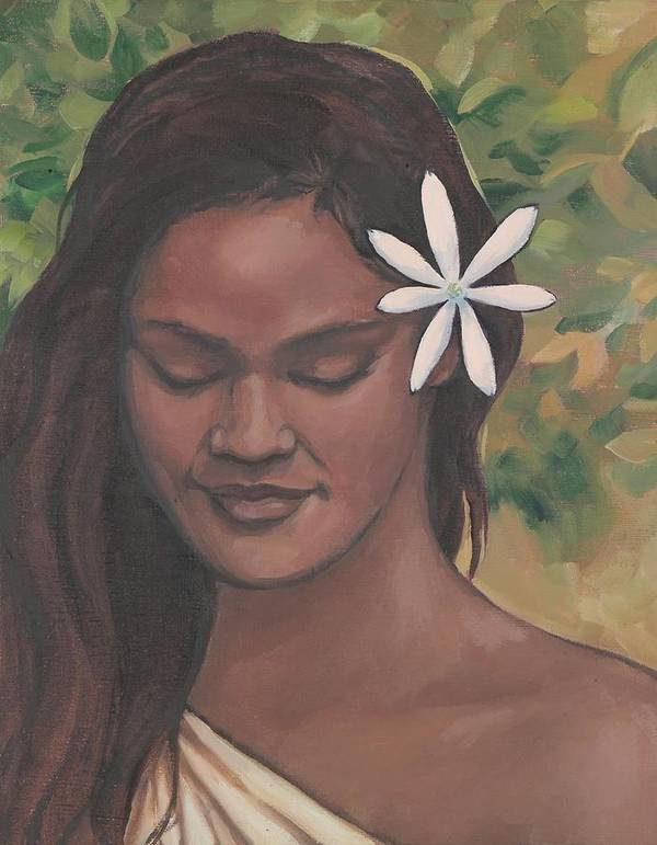 Portrait Art Print featuring the painting Polynesian Beauty by Jennifer Cook