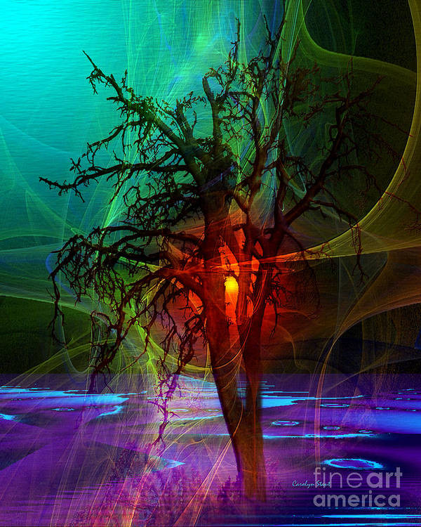 Abstract Fractal Sunset Tree Colors Art Print featuring the digital art Almost Sunset by Carolyn Staut