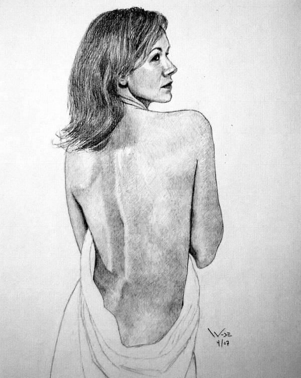 Female Art Print featuring the drawing Female Nude Two by George Wade