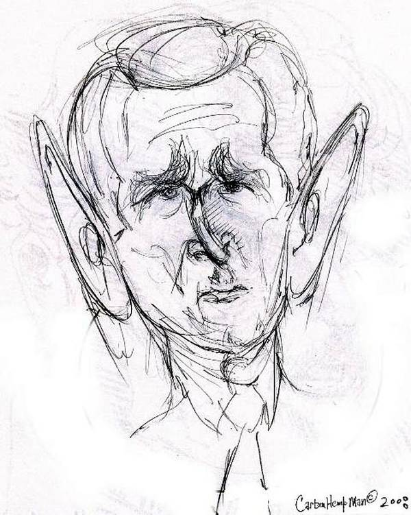 Political Cartoon President Bush Graphite Paper Art Print featuring the drawing George W. Bush by Cartoon Hempman