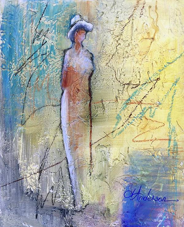 Mixed Media Abstract Figure Art Print featuring the painting Angel Dust by Joan Anderson